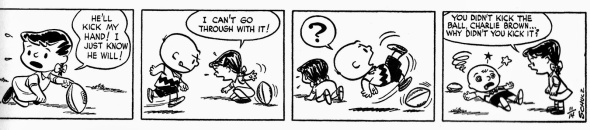 Charlie Brown and Violet pulls football away